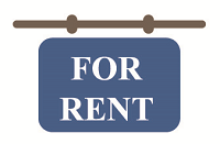 blue sign that says For Rent
